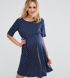 Свободное платье с короткими рукавами и принтом Mamalicious - Темно-синий Mama.Licious