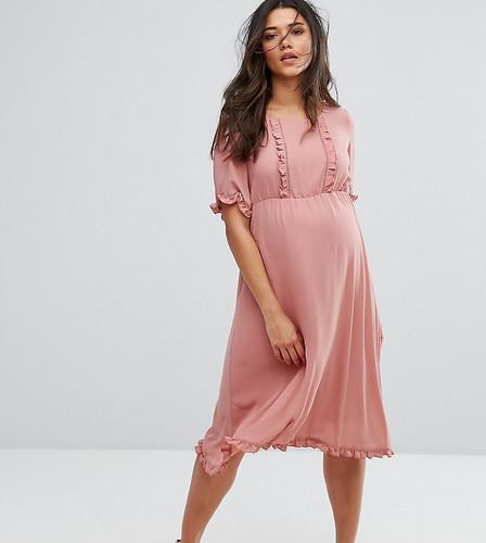 Приталенное платье с оборками Mamalicious - Розовый