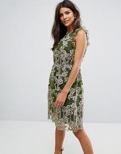 Платье с вышивкой и оборками Tresophie - Зеленый