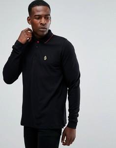 Черная футболка-поло с длинными рукавами и отделкой на воротнике Luke Sport - Черный
