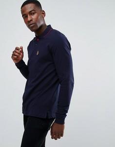 Темно-синяя футболка-поло с длинными рукавами и отделкой на воротнике Luke Sport - Темно-синий