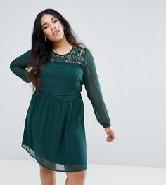 Короткое приталенное платье с кружевной отделкой Junarose - Зеленый
