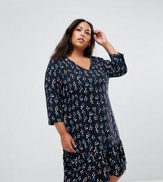 Свободное платье с принтом и оборкой Junarose - Мульти