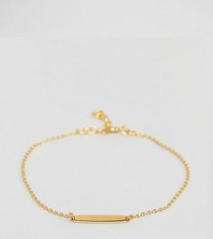 Позолоченный серебряный браслет-цепочка с планкой ASOS - Золотой