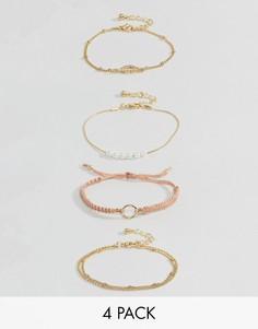 Набор из 4 браслетов (с тонким шнурком/ из металла) ASOS - Мульти