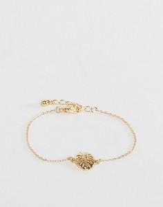 Браслет с пальмовым листом-подвеской ASOS - Золотой