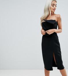 Платье-футляр бандо с бантом спереди и разрезом True Decadence Petite - Черный