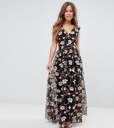 Платье макси с V-образным вырезом и вышивкой True Decadence Petite - Мульти