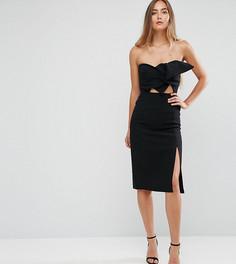 Платье-бандо с разрезом и бантом True Decadence Tall - Черный