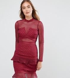 Сетчатое приталенное платье с оборкой по краю True Decadence Tall - Красный