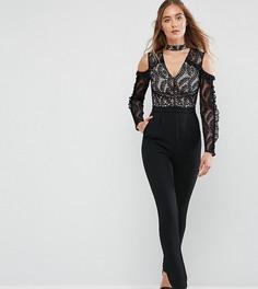 Комбинезон с открытыми плечами и оборками на рукавах True Decadence Tall - Черный