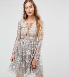 Короткое приталенное платье с глубоким вырезом, шнуровкой и вышивкой True Decadence Tall - Золотой
