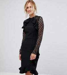 Платье с запахом и кружевной отделкой рукавов True Decadence Tall - Черный