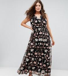 Платье макси с V-образным вырезом и вышивкой Truly You - Мульти