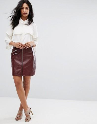 Виниловая мини-юбка на молнии Vero Moda - Фиолетовый