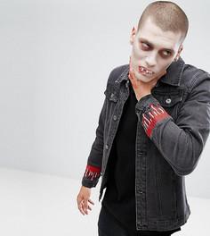 Джинсовая куртка с вышитыми каплями крови Liquor N Poker HALLOWEEN - Черный