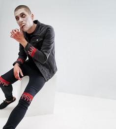 Черные джинсы скинни с вышивкой капающей крови Liquor N Poker HALLOWEEN - Черный