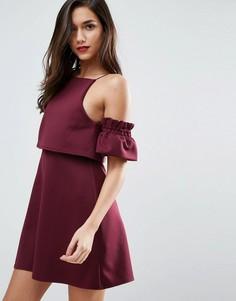 Платье мини с кроп-топом и оборками на рукавах ASOS - Красный