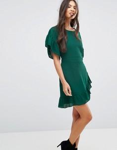 Шифоновое платье мини с оборкой на рукавах Missguided - Зеленый