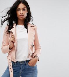 Байкерская куртка из искусственной кожи с ремнем Vero Moda Petite - Розовый
