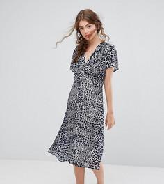 Эксклюзивное платье миди с леопардовым принтом Lily and Lionel - Мульти