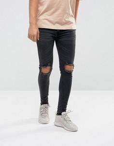 Супероблегающие рваные джинсы Night Addict - Черный