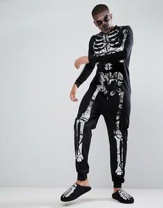 Комбинезон с рисунком скелета ASOS Halloween - Черный