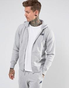 Худи серого цвета на молнии New Balance Essentials MJ73528_AG - Серый