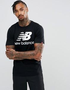 Черная футболка New Balance Essentials Stacked MT73587_BK - Черный