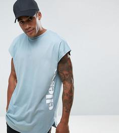 Синяя футболка с логотипом и асимметричным подолом Ellesse - Синий