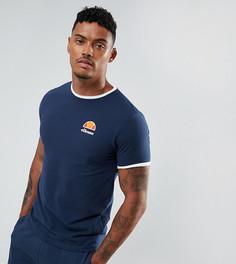 Темно-синяя обтягивающая футболка с маленьким логотипом Ellesse - Темно-синий