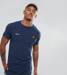 Темно-синяя обтягивающая футболка с асимметричным краем и логотипом Ellesse - Темно-синий