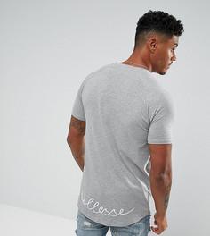 Серая обтягивающая футболка с асимметричным краем и логотипом Ellesse - Серый