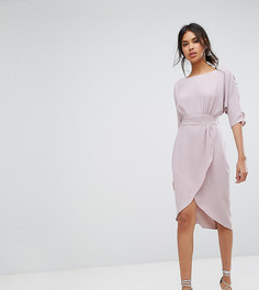 Платье с запахом и пуговицами на рукавах Closet London - Серый