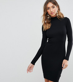 Облегающее платье мини в рубчик с воротником поло ASOS TALL - Черный