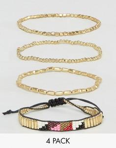 Набор из четырех золотистых браслетов Pieces - Золотой