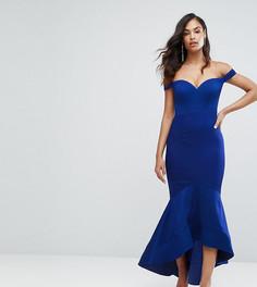 Платье макси с открытыми плечами и вырезом в форме сердца Bariano - Синий