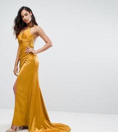 Драпированное атласное платье макси со шнуровкой на спине Bariano - Золотой