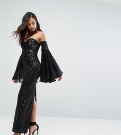 Декорированное платье макси с вырезом в форме сердца и рукавами клеш Bariano - Черный