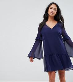 Платье мини с оборкой по краю ASOS PETITE - Темно-синий