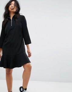 Платье с высоким воротом и молнией с кольцом на бегунке JDY - Черный