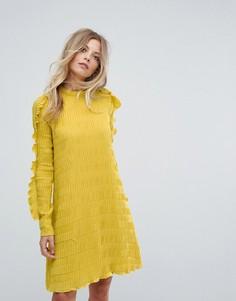 Платье с оборками на рукавах Y.A.S - Желтый