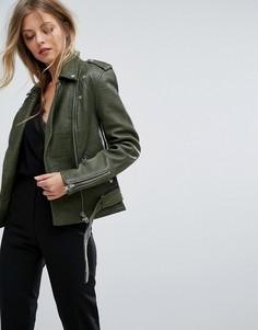 Кожаная куртка с отделкой под кожу крокодила Y.A.S - Зеленый