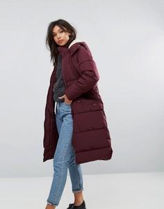 Длинная дутая куртка с искусственной меховой отделкой капюшона Parka London - Красный