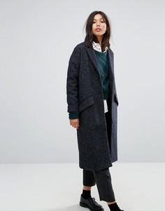 Легкое пальто бойфренда из ткани с добавлением шерсти Parka London Lola - Темно-синий