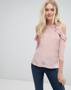 Топ с открытыми плечами и оборками Jack Wills - Розовый