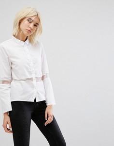 Рубашка с полупрозрачной вставкой Noisy May - Белый