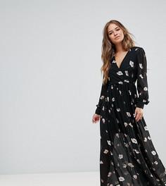 Платье макси с цветочным принтом Vero Moda Petite - Черный