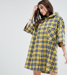 Платье-рубашка в клетку с капюшоном Reclaimed Vintage Inspired - Желтый