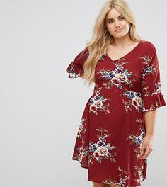 Короткое приталенное платье с оборкой по краю Boohoo Plus - Красный